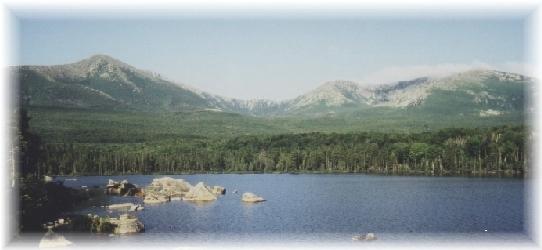 """Sandy Stream Pond is one of Thoreau's many """"fragments of a broken mirror"""" visible from the top of Mt. Katahdin. I have never not seen a moose at Sandy Stream Pond."""