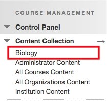 Course Control Panel with Course ID Highlighted