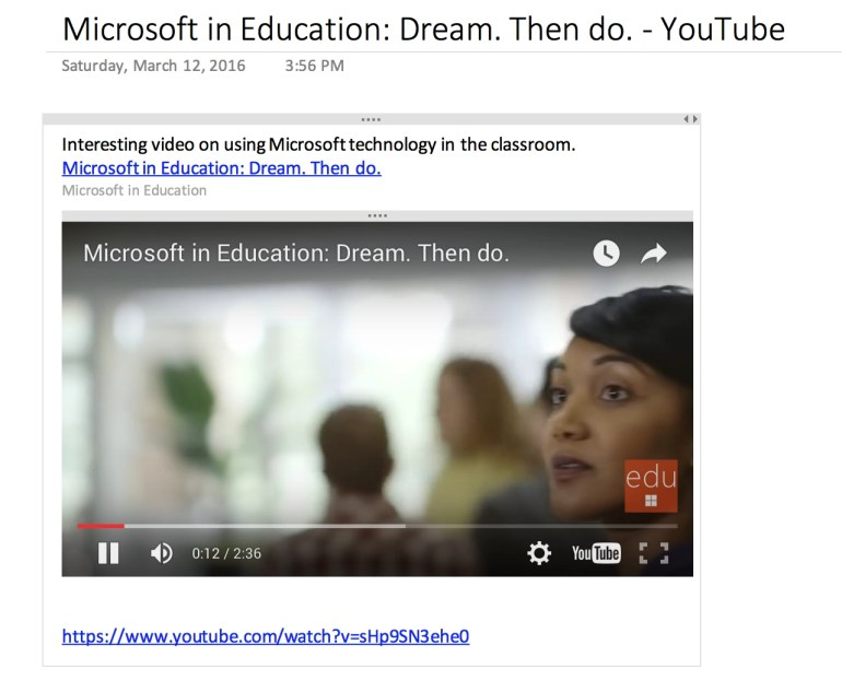 Screen Shot of a YouTube video in a OneNote page
