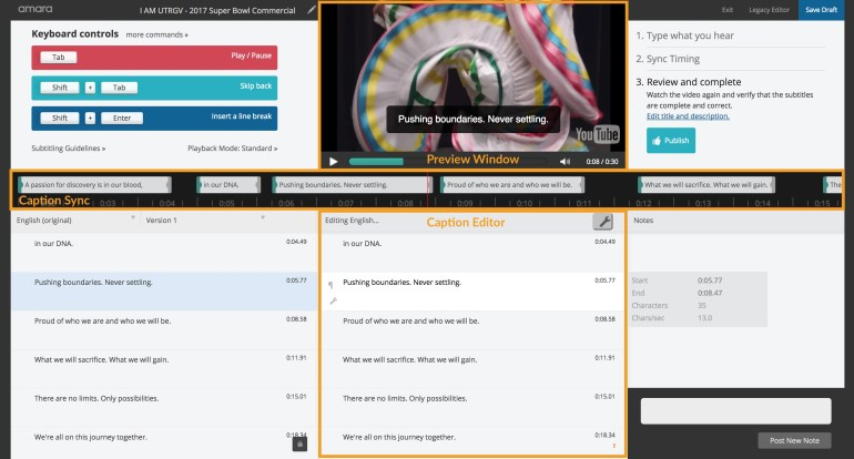 Annotated screenshot of the Amara Caption Editor