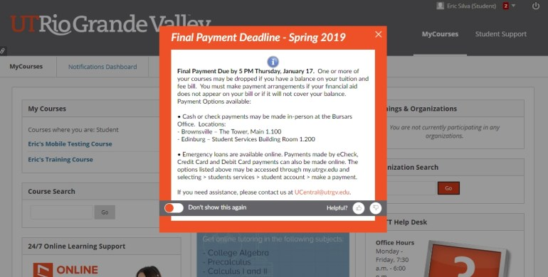 Blackboard page display the Final Payment Deadline Popup Message