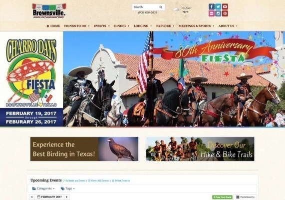 Screenshot of the Brownsville Convention & Visitors Bureau Website