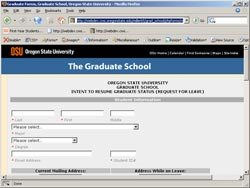 OSU Grad School forms screenshot