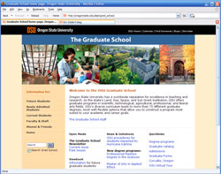 OSU Grad School web site screenshot
