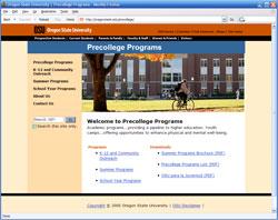OSU Precollege web page design