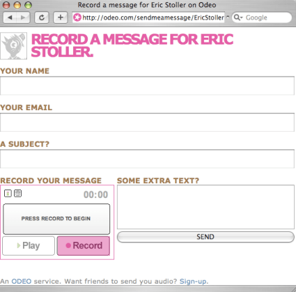 Record a voice message - Press record, then submit the audio file, write a message and then press send