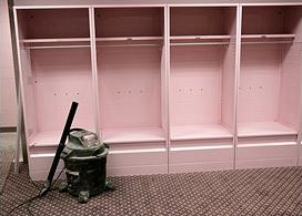 University of Iowa pink locker room