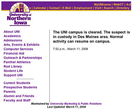University of Northern Iowa campus alert