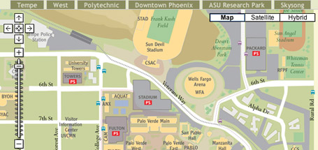 Arizona State University campus map using Google Maps API