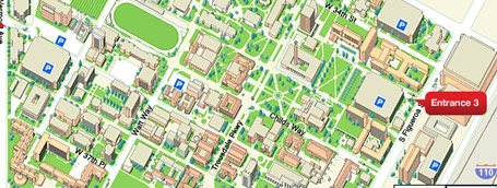University of Southern California campus map using Google Maps API