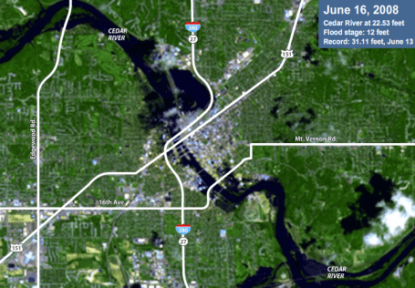 Satellite photo of flooding in Southeast Iowa  Cedar Rapids and Iowa City before and after comparison