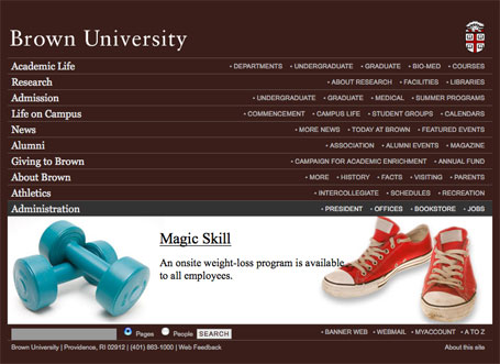 Brown University Homepage Design