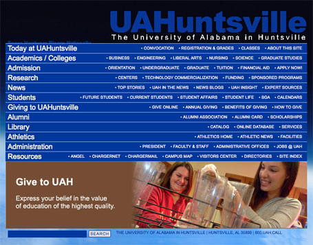The University of Alabama in Huntsville Borrowed Web Design