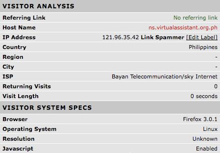 Link Spammer web stats
