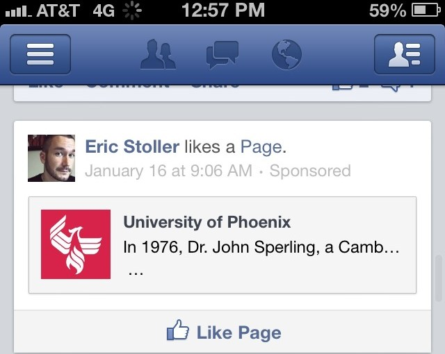 University of Phoenix, A Facebook Like, and a Sponsored Ad