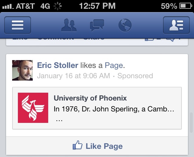 The University of Phoenix is using my Like on Facebook