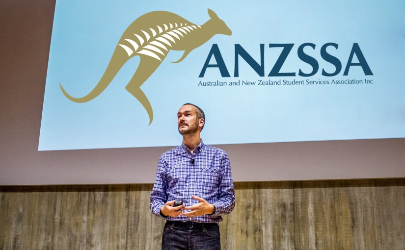 Eric Stoller giving a keynote at the Australian New Zealand Student Services Association (ANZSSA) annual conference in Auckland, New Zealand