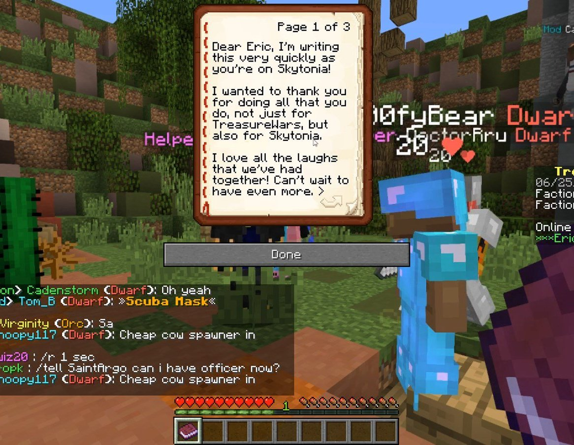 A personal note from a player during a suprise Minecraft Staff Appreciation event for Skytonia + TreasureWars.