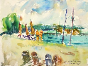 4238 Caye Caulker Beach, original watercolor painting by Eric Wiegardt AWS-DF, NWS