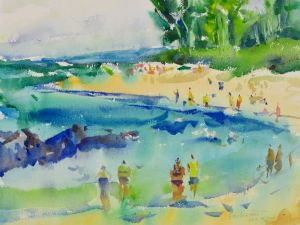 3916 Poipu Beach, Hawaii, original watercolor painting by Eric Wiegardt AWS-DF, NWS