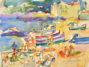 4213 Calella, Spain original watercolor painting by Eric Wiegardt AWS-DF, NWS