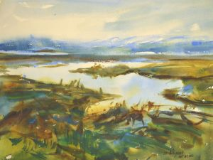 4279 Willapa Marsh, original watercolor painting by Eric Wiegardt AWS-DF, NWS