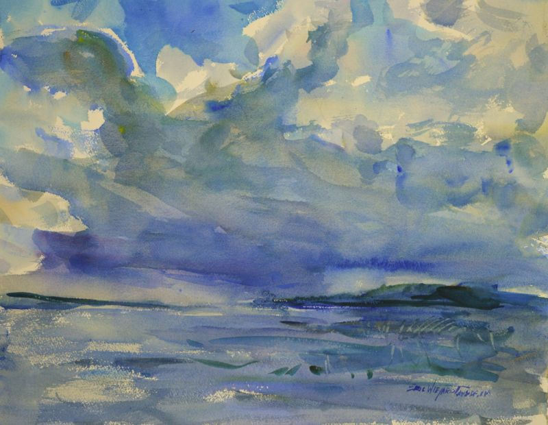 4281 Storm Coming, original watercolor painting by Eric Wiegardt AWS-DF, NWS