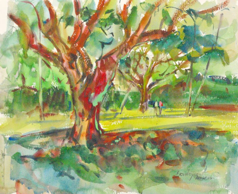 4062 A Walk in the Park, original watercolor painting by Eric Wiegardt AWS-DF, NWS