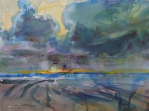 4291 Sunset in Ocean Park, original watercolor painting by Eric Wiegardt AWS-DF, NWS