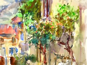 3428 Moustiers, St. Marie, original watercolor painting by Eric Wiegardt AWS-DF, NWS428 Moustiers, St. Marie
