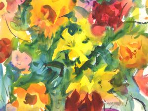 4274 Lilies, original watercolor painting by Eric Wiegardt AWS-DF, NWS274 Lilies