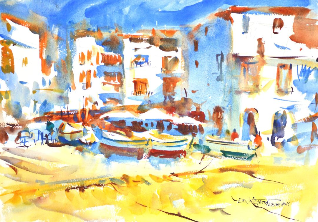 4305 Konstanz Afternoon, original watercolor painting by Eric Wiegardt AWS-DF, NWS