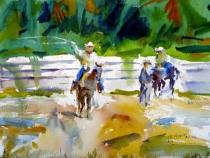 Roping Cowboy Notecard, blank giclee watercolor print by Eric Wiegardt AWS-DF, NWS