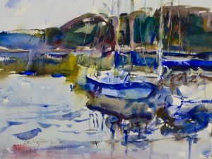 3771 Sailboat Study, original watercolor painting by Eric Wiegardt AWS-DF, NWS