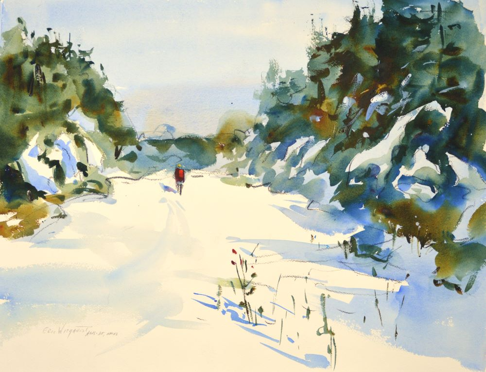 4321 First Snow, original watercolor painting by Eric Wiegardt AWS-DF, NWS