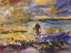 4332 Early Morning Retrieve, original watercolor painting by Eric Wiegardt AWS-DF, NWS