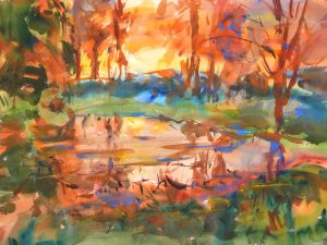 4348 My Pond, Sunrise, original watercolor painting by Eric Wiegardt AWS-DF, NWS