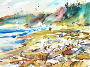 3510 Beach Menagerie, original watercolor painting by Eric Wiegardt AWS-DF, NWS