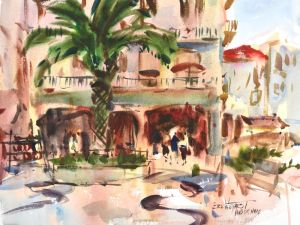 3778 Nazare, Portugal, original watercolor painting by Eric Wiegardt AWS-DF, NWS