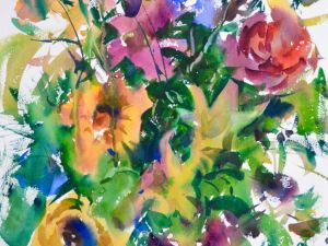 4173 Yellow Lilies, original watercolor painting by Eric Wiegardt AWS-DF, NWS