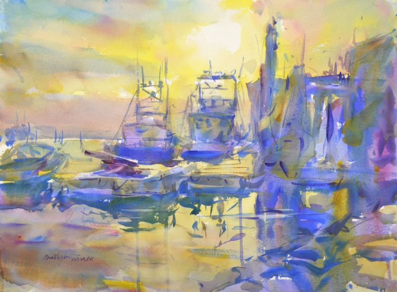 4360 Oyster Dredges at Sunrise, original watercolor painting by Eric Wiegardt AWS-DF, NWS