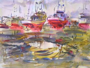 4376 Ilwaco Old Timers, original watercolor painting by Eric Wiegardt AWS-DF, NWS