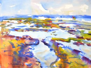 4390 August Tidepools, original watercolor painting by Eric Wiegardt AWS-DF, NWS