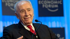 Israeli President Shimon Peres attends a session of the 2013 World Economic Forum on January 24, 2013 in Davos.