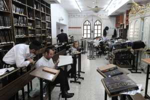 Ultra-Orthodox Jewish men during religious studies in the Sha'arei Hesed neighborhood in Jerusalem, Israel. Aug. 1, 2010