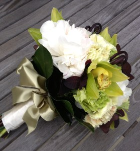 Erika Anderson Designs wedding bouquet with orchids