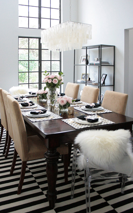 acrylic chair legs cotton wingback covers dinner party table black, white, pink & gold - erika brechtel