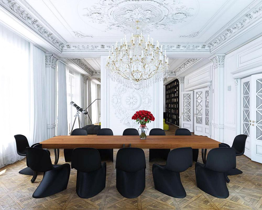 panton s chair card table with chairs crush the black erika brechtel classical white molding dining room wood parquet floors photo by nikita borisenko