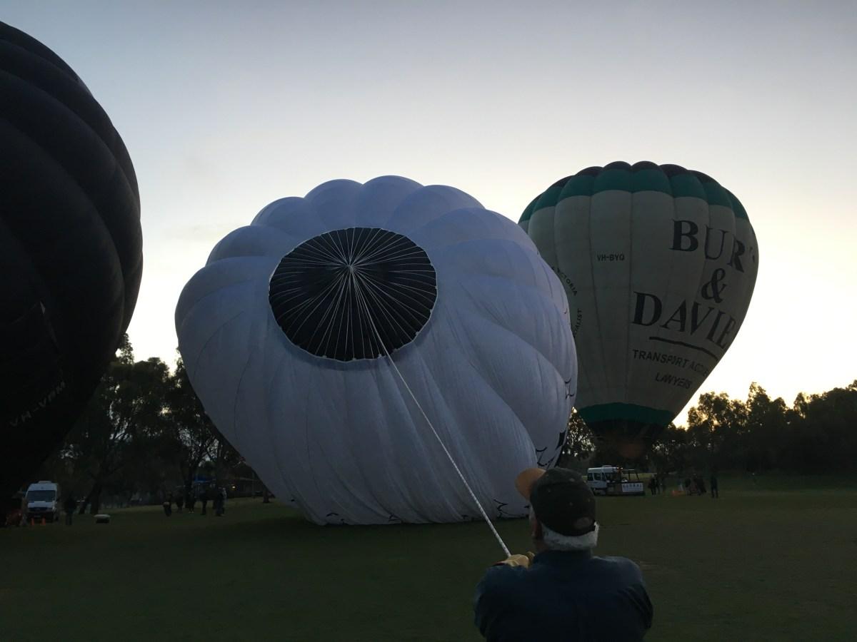 Hot air balloon ride set up