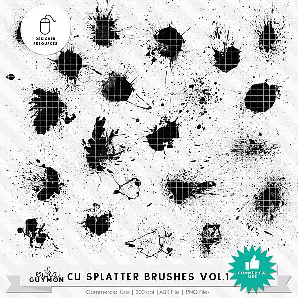 CU Splatter Brushes Vol.1 | Designer Resource | Erika Guymon